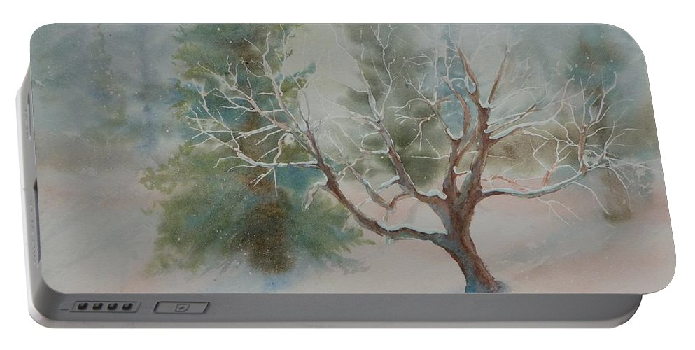Snow Portable Battery Charger featuring the painting Silence by Ruth Kamenev