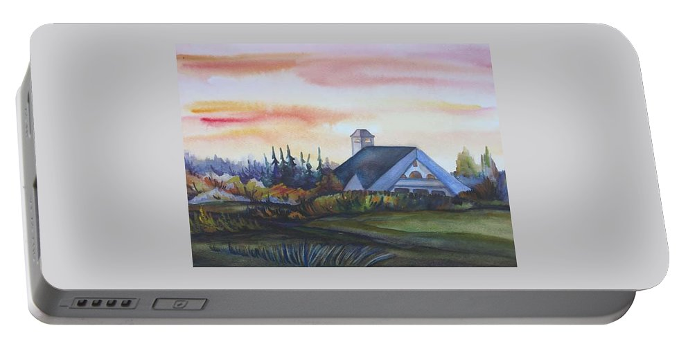 Watercolor Portable Battery Charger featuring the painting Silence Upon Midnapore by Anna Duyunova