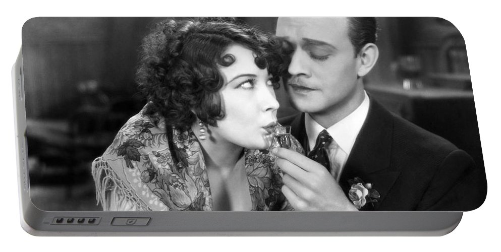 -drinking- Portable Battery Charger featuring the photograph Silent Film Still: Drinking by Granger