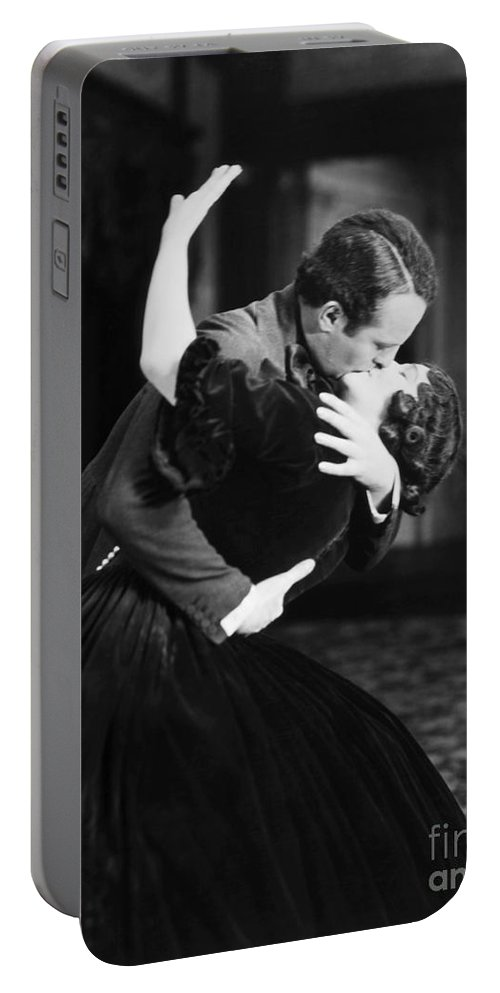 -kissing- Portable Battery Charger featuring the photograph Silent Film Still by Granger