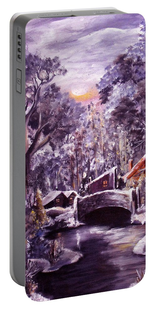Landscape Portable Battery Charger featuring the painting Silent Night by Ruth Palmer