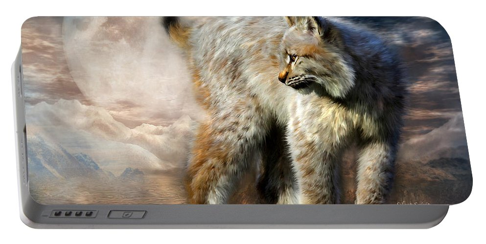 Lynx Portable Battery Charger featuring the mixed media Silent Spirit by Carol Cavalaris