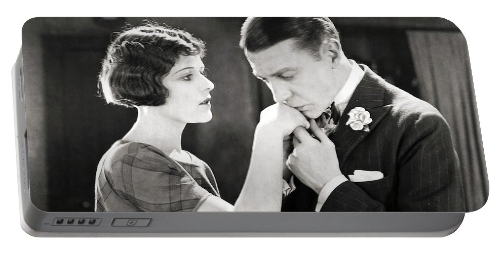 -kissing Hand- Portable Battery Charger featuring the photograph Silent Still: Hand Kissing by Granger