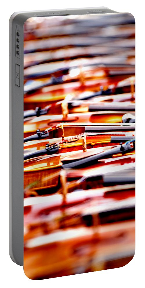 Violins Portable Battery Charger featuring the photograph Silent Symphony by Greg Fortier