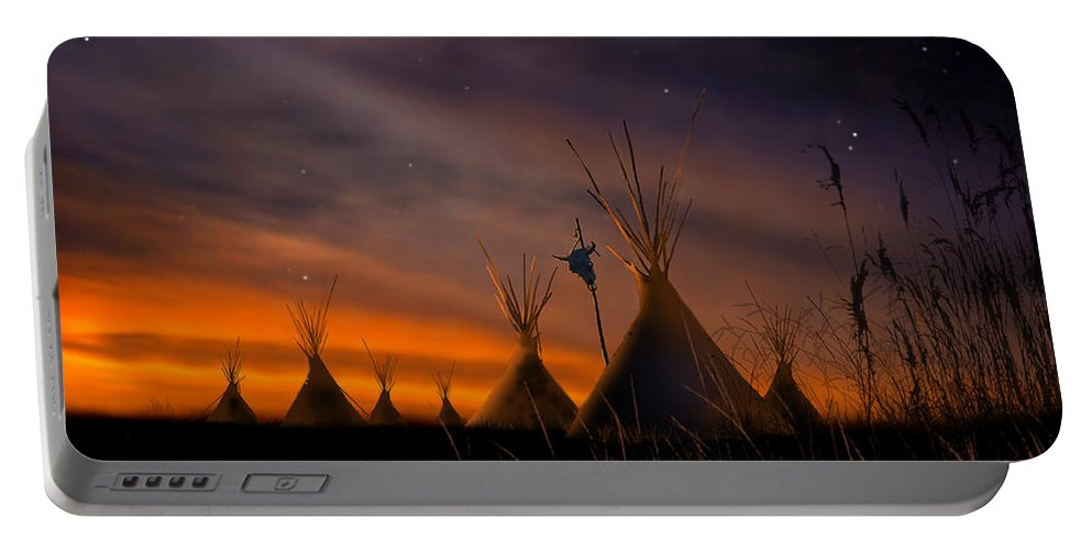 Native American Portable Battery Charger featuring the painting Silent Teepees by Paul Sachtleben