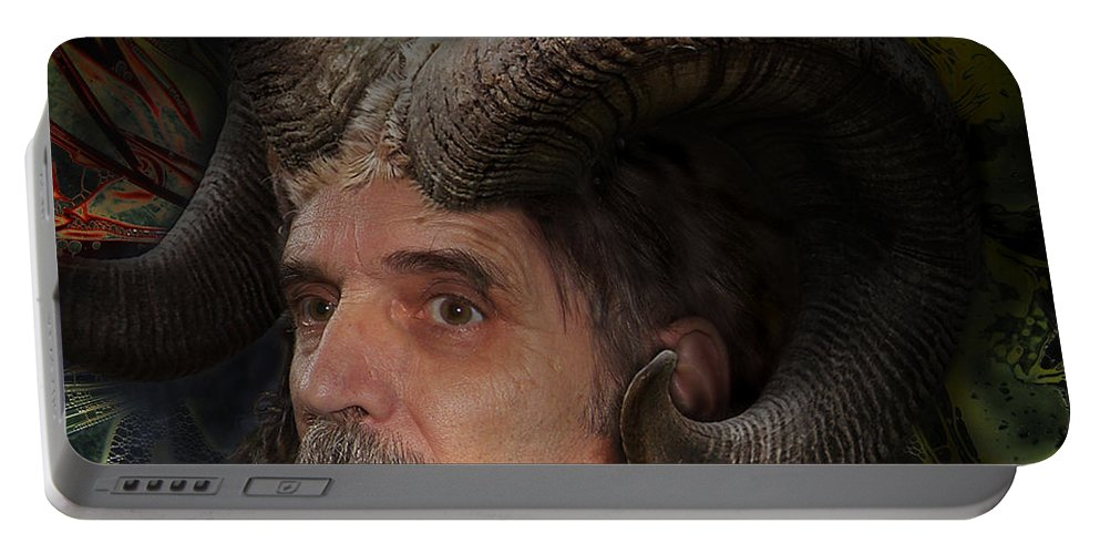 Surrealism Portable Battery Charger featuring the digital art Silenus by Otto Rapp