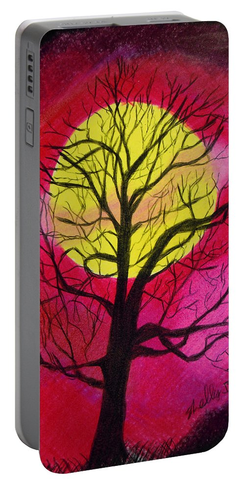 Tree Portable Battery Charger featuring the painting Silhouette by Shelley Blair