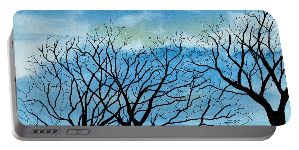 Landscape Portable Battery Charger featuring the painting Silhouettes Against The Sky by Brenda Owen