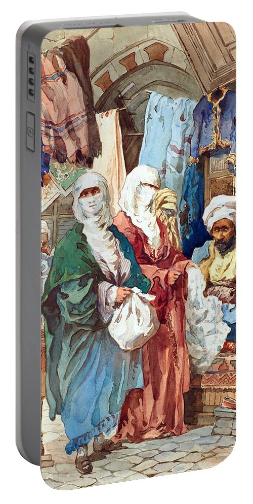 Orient Portable Battery Charger featuring the painting Silk Bazaar by Munir Alawi