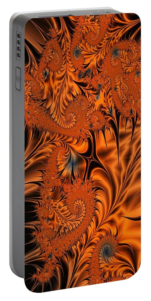 Silk Portable Battery Charger featuring the digital art Silk in Orange by Ron Bissett