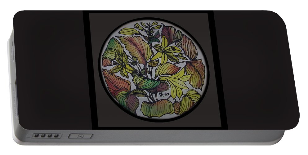 Silk Portable Battery Charger featuring the painting Silk Leaves by Shirley Heyn