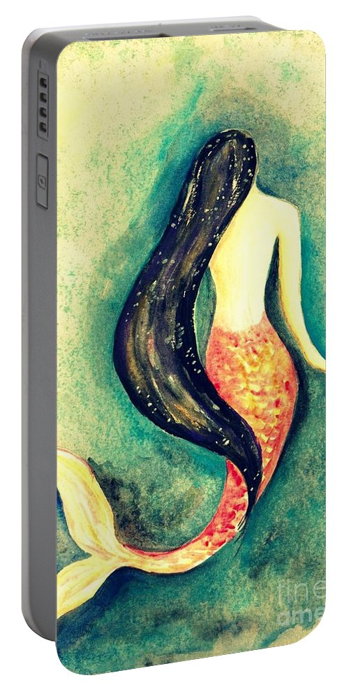 Love Romantic Wedding Gift Portable Battery Charger featuring the painting Silk Mermaid by Sweeping Girl
