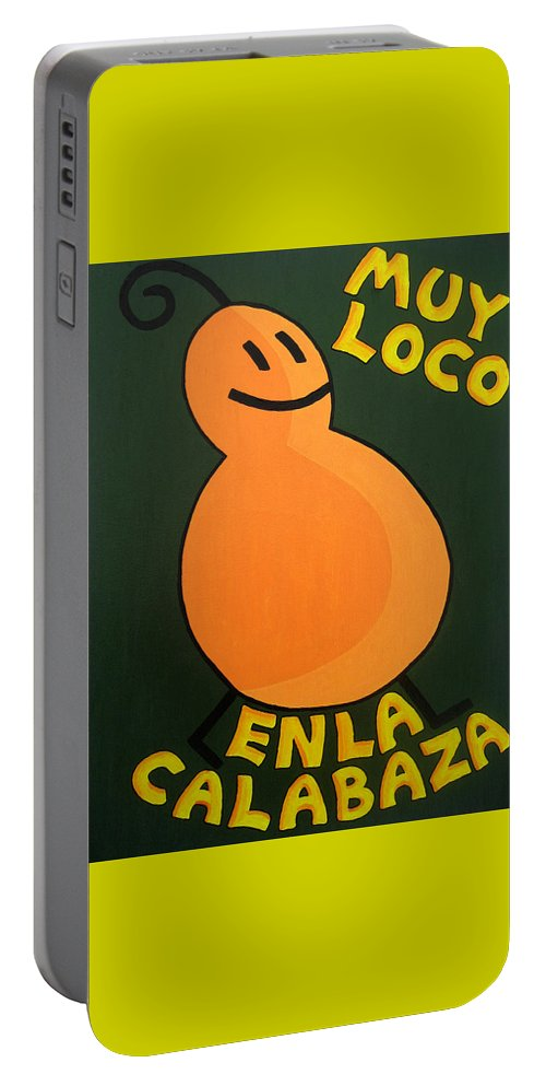 Orange Portable Battery Charger featuring the painting Silly Squash by Oliver Johnston