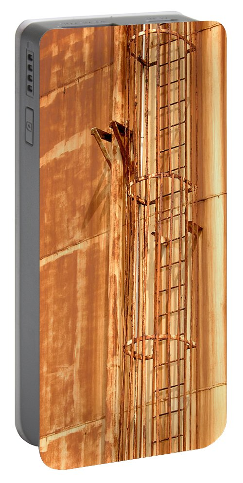 Rusty Portable Battery Charger featuring the photograph Silo Ladder by Jill Reger