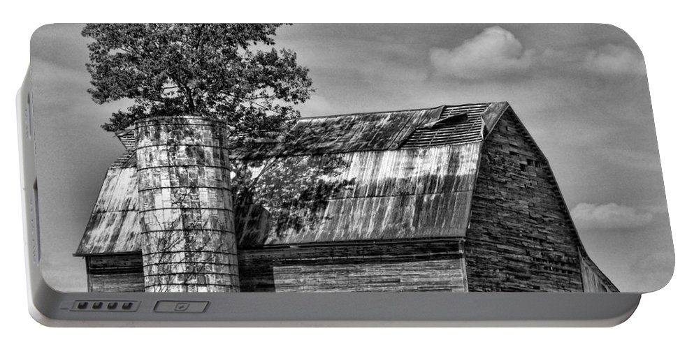 Black And White Portable Battery Charger featuring the photograph Silo Tree Black And White by Kristie Bonnewell