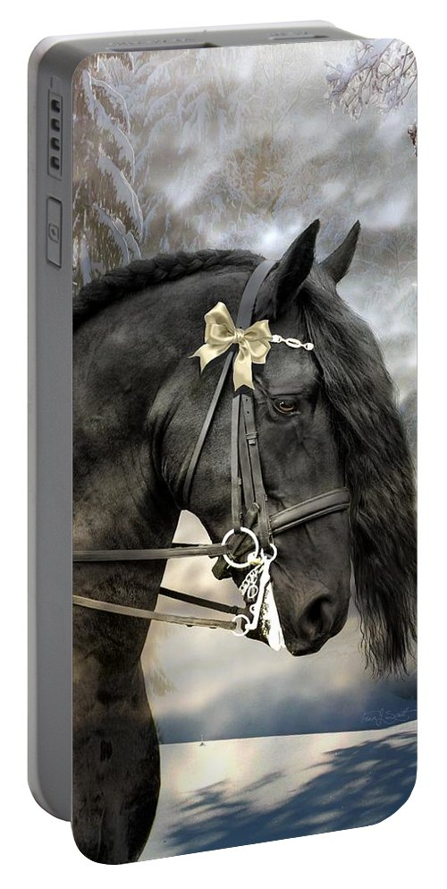 Friesian In Snow Portable Battery Charger featuring the mixed media Silver And Gold by Fran J Scott