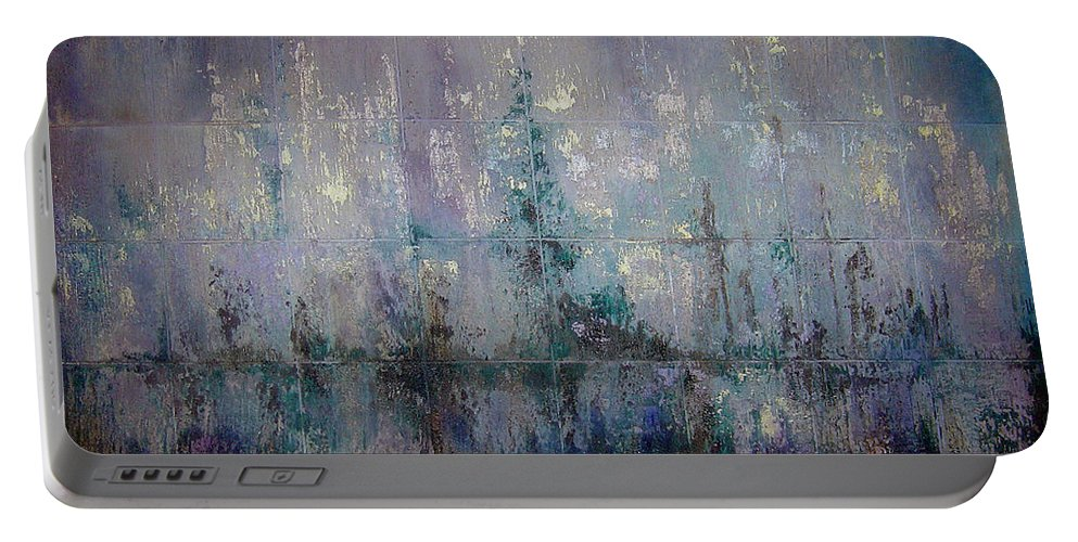 Abstract Portable Battery Charger featuring the painting Silver And Silent by Shadia Derbyshire