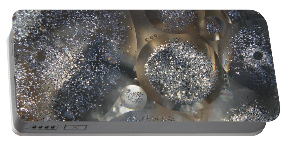 Silver Portable Battery Charger featuring the photograph Silver Circles by Mandy Shupp