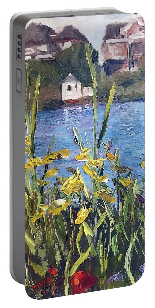 The Artist Josef Portable Battery Charger featuring the painting Silver Lake Blossoms by Josef Kelly