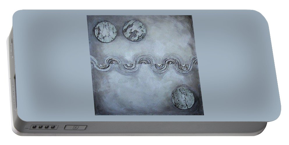 Sets Portable Battery Charger featuring the painting Silver Lining by Marlene Burns