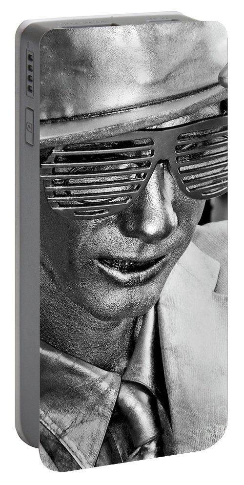 New Orleans Portable Battery Charger featuring the photograph Silver Man Mime by Kathleen K Parker