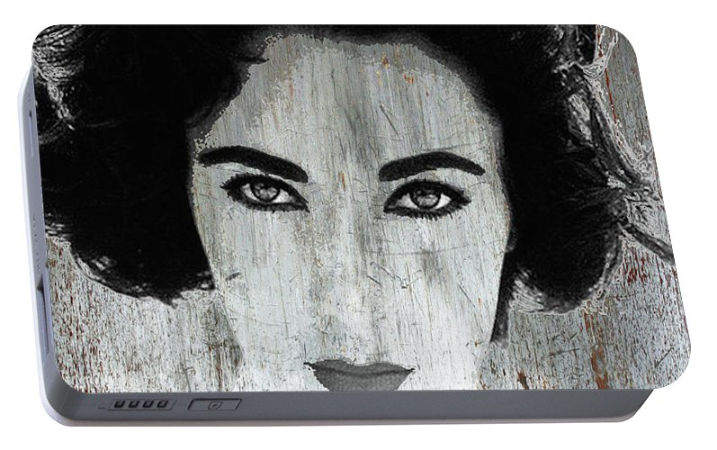 Liz Taylor Portable Battery Charger featuring the mixed media Silver Screen Liz Taylor by Tony Rubino