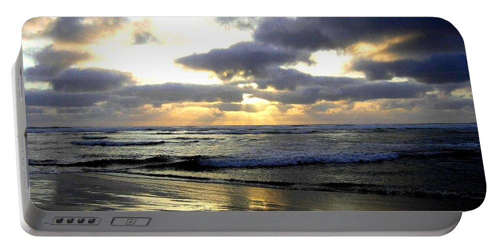 Sunset Portable Battery Charger featuring the photograph Silver Shores by Will Borden