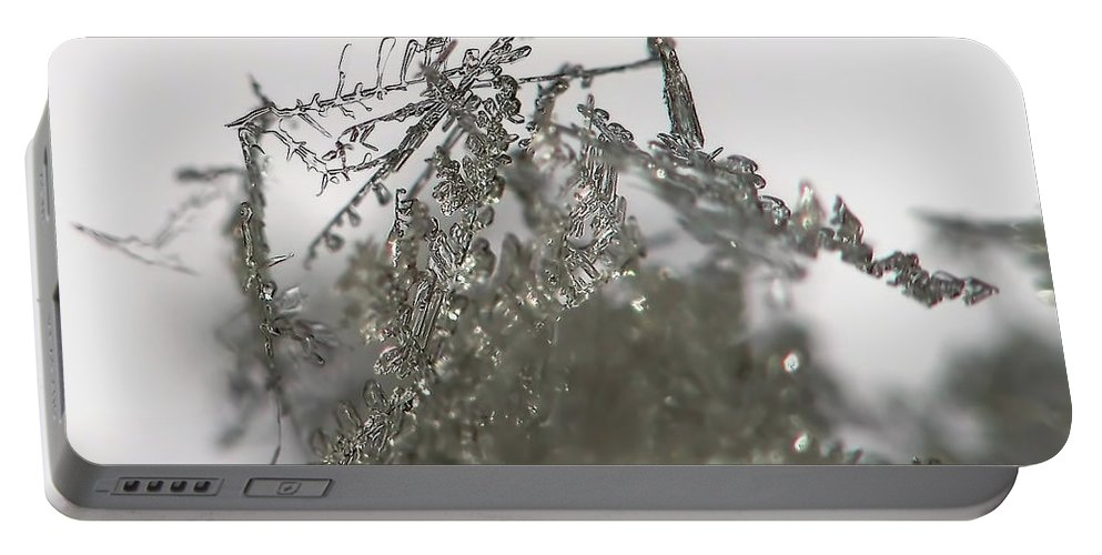 Macro Portable Battery Charger featuring the photograph Silver Snow by Lauren Radke