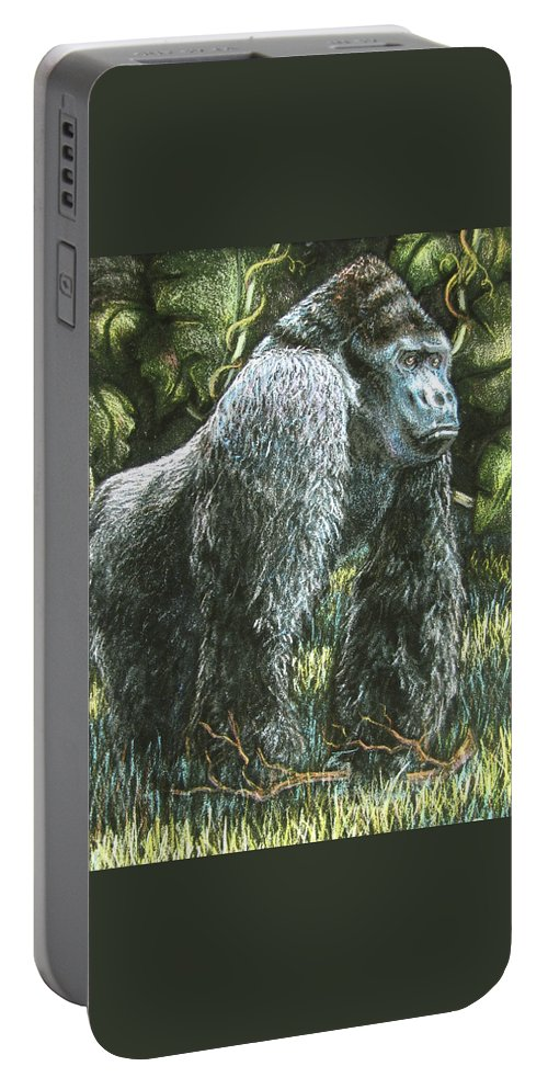 Fuqua - Artwork Portable Battery Charger featuring the drawing Silverback-king Of The Mountain Mist by Beverly Fuqua