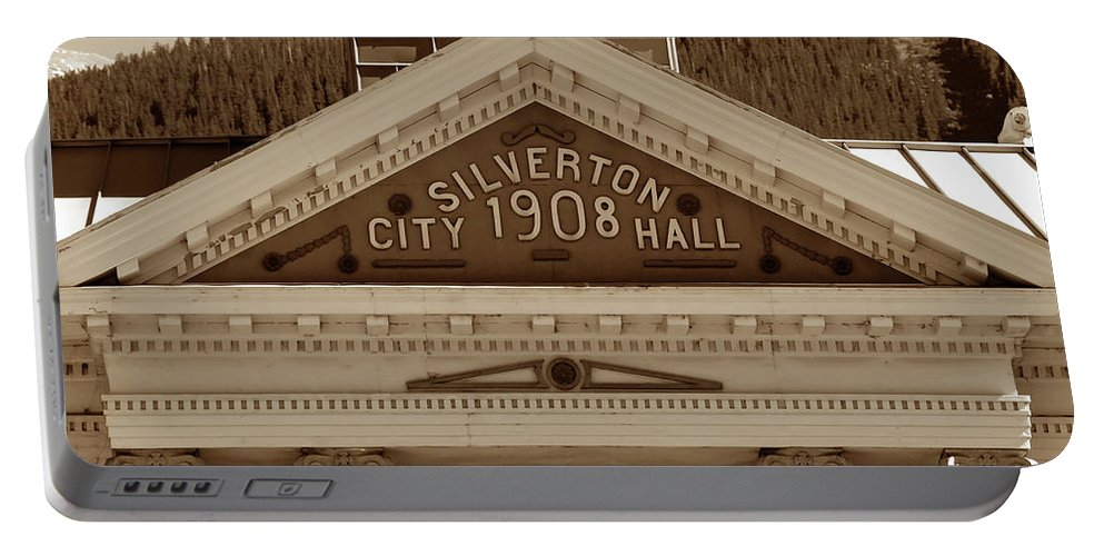 Fine Art Photography Portable Battery Charger featuring the photograph Silverton City Hall 1908 by David Lee Thompson