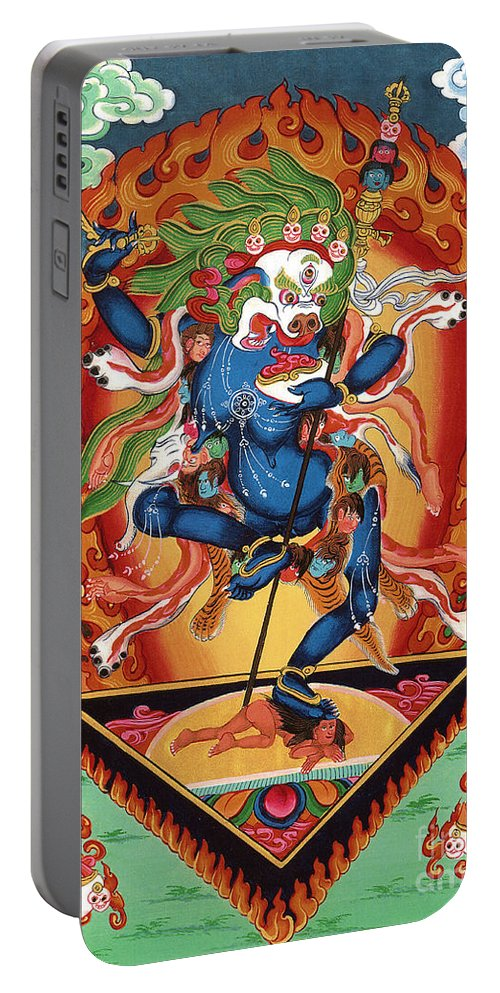 Thangka Portable Battery Charger featuring the painting Simhamukha - Lion Face Dakini by Sergey Noskov