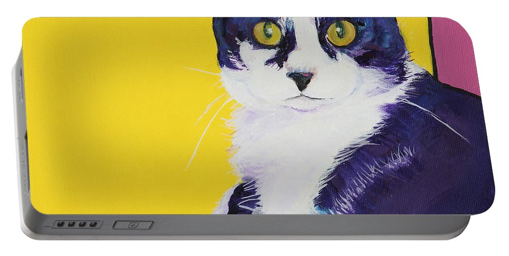 Tuxedo Cat Portable Battery Charger featuring the painting Simon by Pat Saunders-White