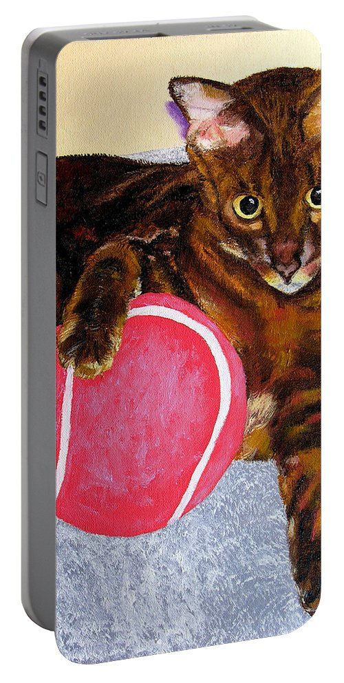 Cat Portable Battery Charger featuring the painting Simon by Stan Hamilton
