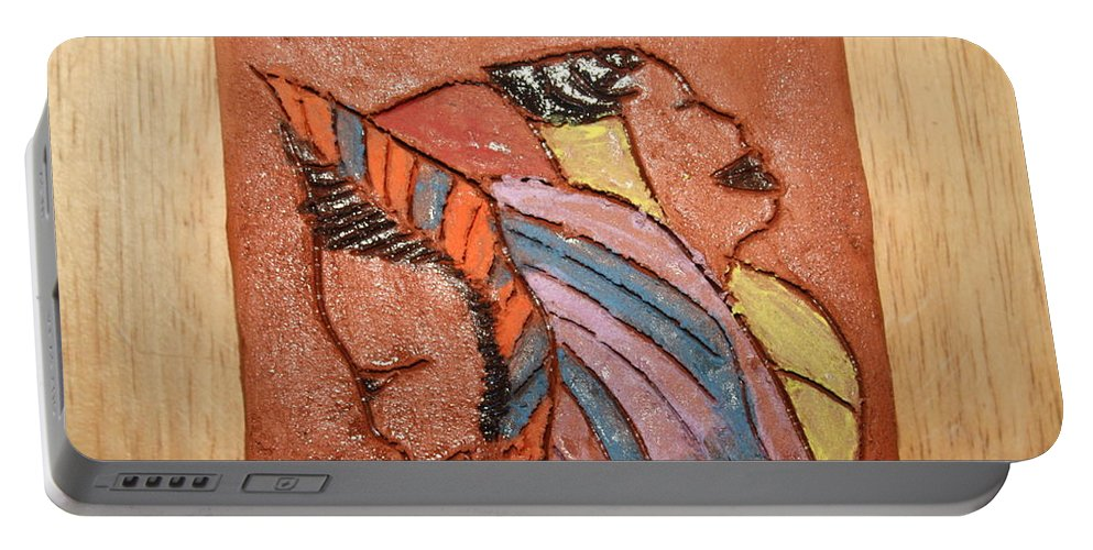 Jesus Portable Battery Charger featuring the ceramic art Simona And Martha - Tile by Gloria Ssali