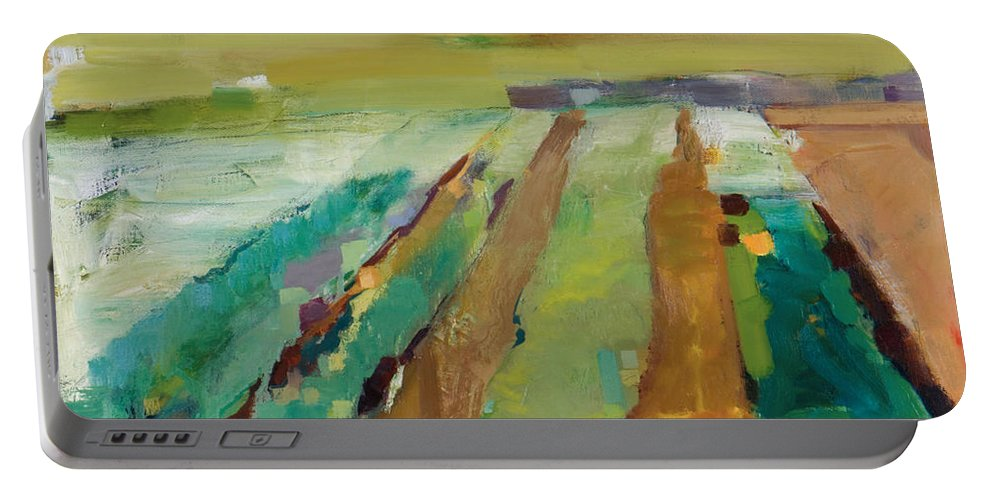 Impressionistic Landscape Portable Battery Charger featuring the painting Simple Fields by Michele Norris