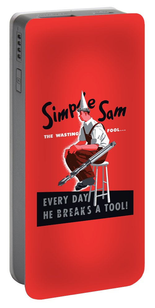World War Ii Portable Battery Charger featuring the painting Simple Sam The Wasting Fool by War Is Hell Store