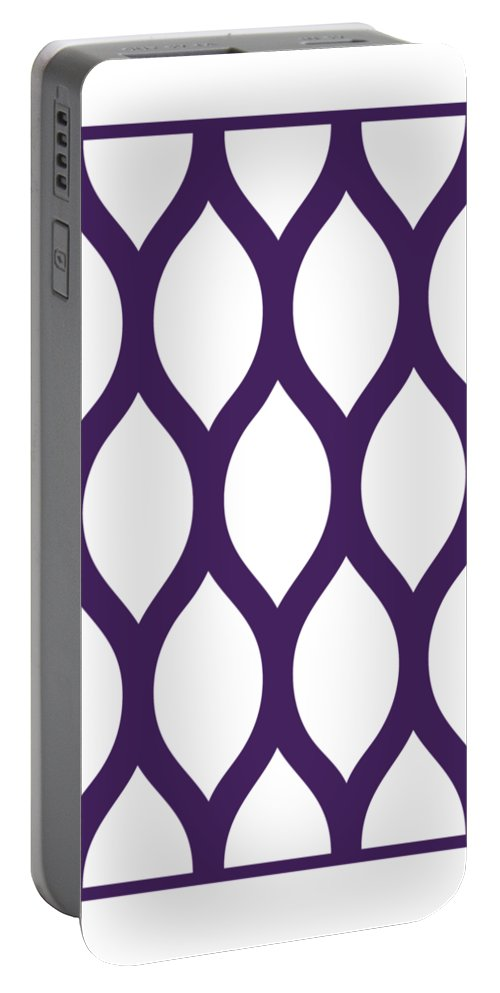 Simplified Latticework Portable Battery Charger featuring the digital art Simplified Latticework With Border In Purple by Custom Home Fashions