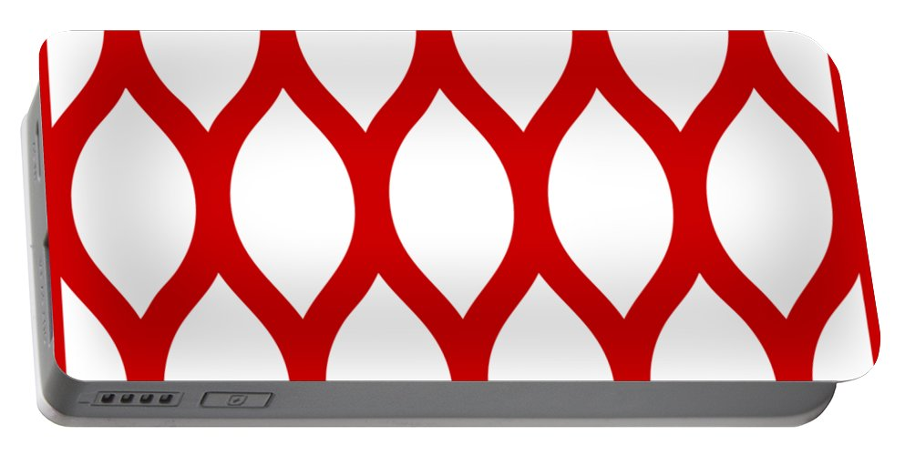 Simplified Latticework Portable Battery Charger featuring the digital art Simplified Latticework With Border In Red by Custom Home Fashions