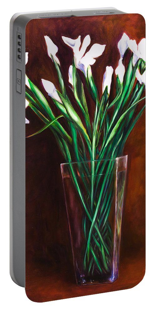 Iris Portable Battery Charger featuring the painting Simply Iris by Shannon Grissom