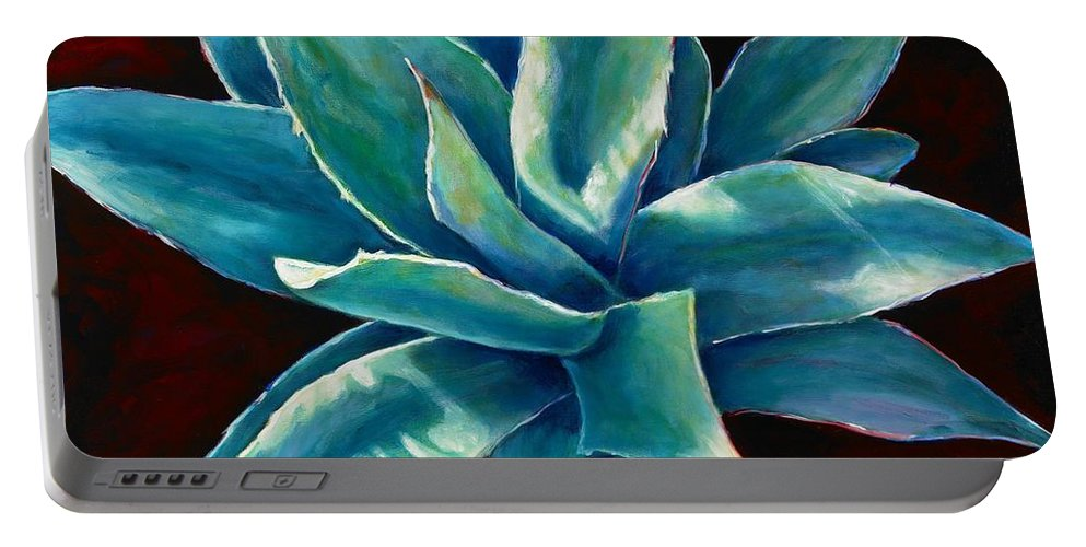 Agave Portable Battery Charger featuring the painting Simply Succulent by Shannon Grissom