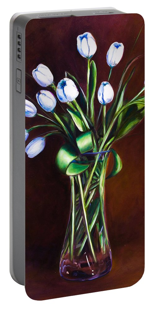 Shannon Grissom Portable Battery Charger featuring the painting Simply Tulips by Shannon Grissom
