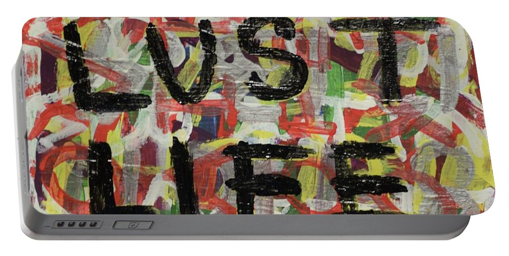 Abstract Portable Battery Charger featuring the painting Sin by Aj Watson