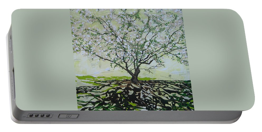 Apple Tree Portable Battery Charger featuring the painting Sincerely-the Curator by Leah Tomaino