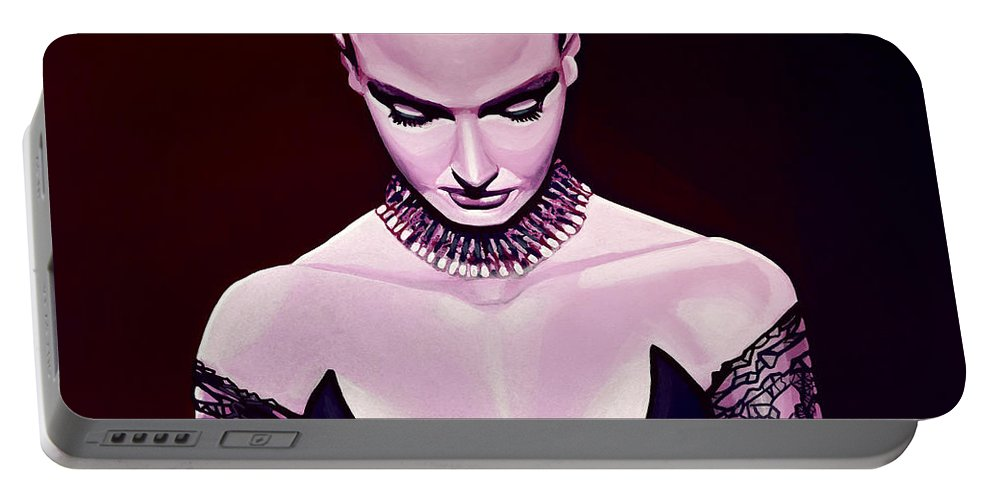 Sinead O'connor Portable Battery Charger featuring the painting Sinead O'connor by Paul Meijering