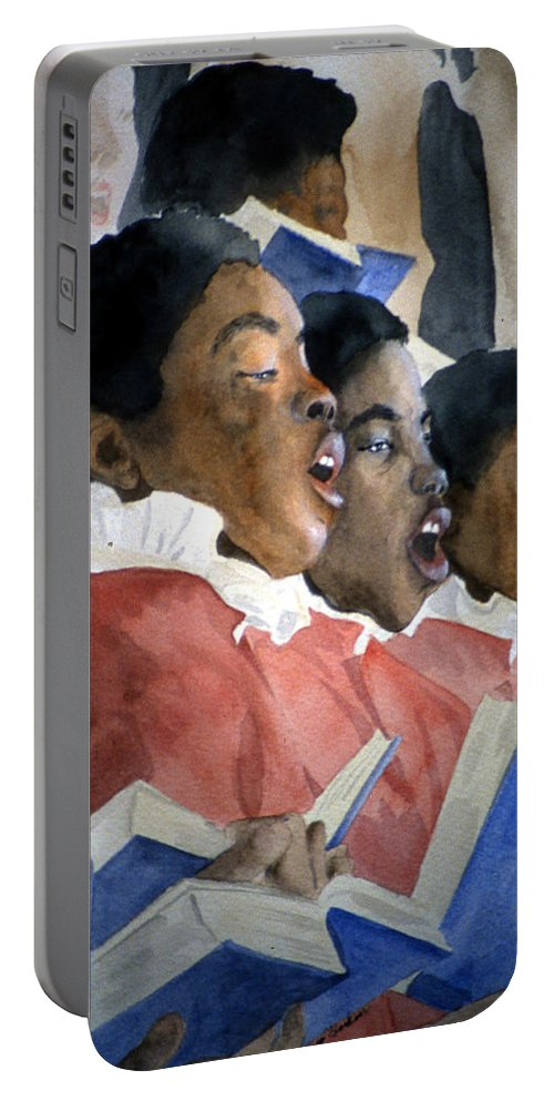 Choir Portable Battery Charger featuring the painting Sing Out Your Joy by Jean Blackmer
