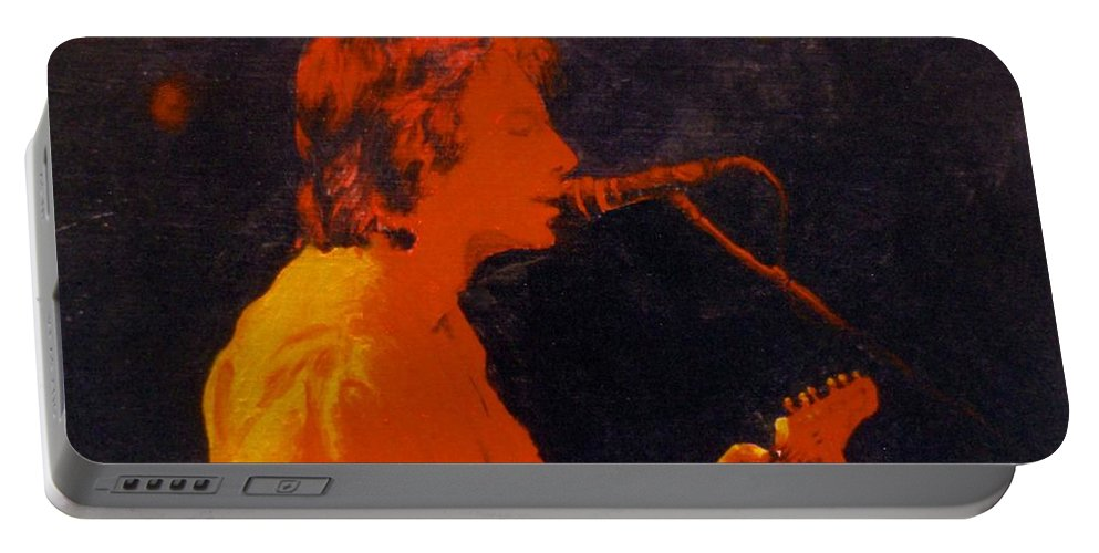Musician Portable Battery Charger featuring the painting Singing by Karen Henninger