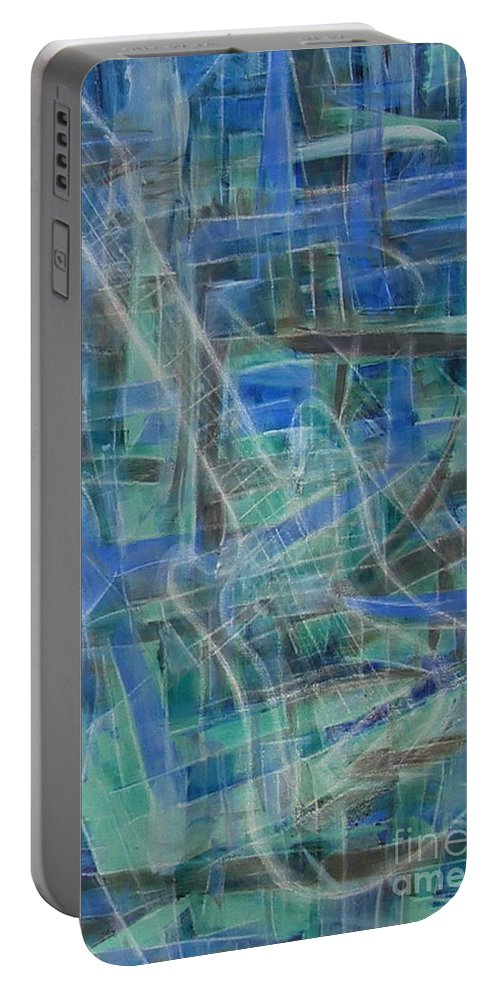 Guitar Portable Battery Charger featuring the painting Singing The Blues by Dawn Hough Sebaugh