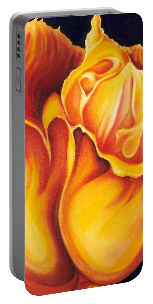 Surreal Tulip Portable Battery Charger featuring the painting Singing Tulip by Jordana Sands
