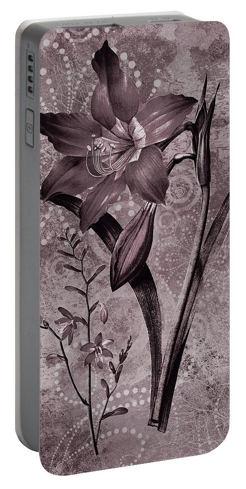 Lily Portable Battery Charger featuring the digital art Single Lily-vintage Series by Grace Iradian