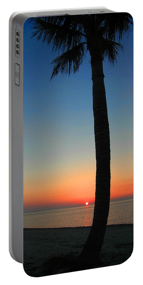 Photography Portable Battery Charger featuring the photograph Single Palm And Sunset by Susanne Van Hulst
